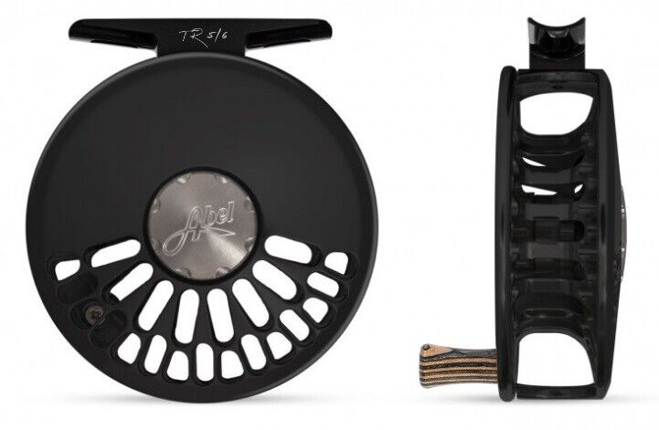 NEW ABEL TR 5/6 CLICK DRAG #5/6 WEIGHT FLY REEL IN BLACK WITH ZEBRA WOOD HANDLE