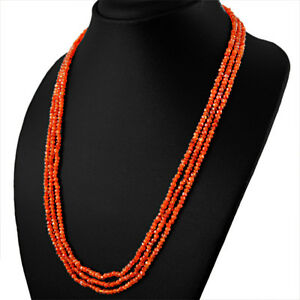 222-00-CTS-NATURAL-RICH-ORANGE-CARNELIAN-3-LINE-ROUND-FACETED-BEADS-NECKLACE