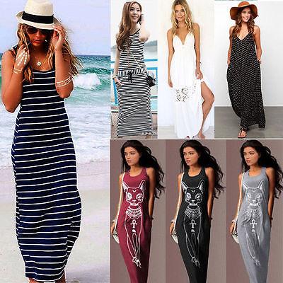 Boho Women Ladies Long Maxi Beach Dress Summer Stripe Evening Party Casual Dress