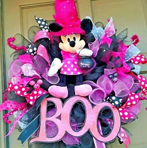 Handmade Minnie Mouse Halloween Witch Wreath Deco Mesh Disney Inspired Door Deco
