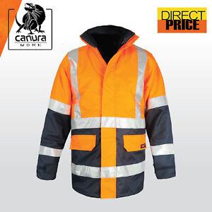 e1663d44997 Hi Vis Rain Jacket Work Reflective Tape NEW Safety Wear Rain Proof ...