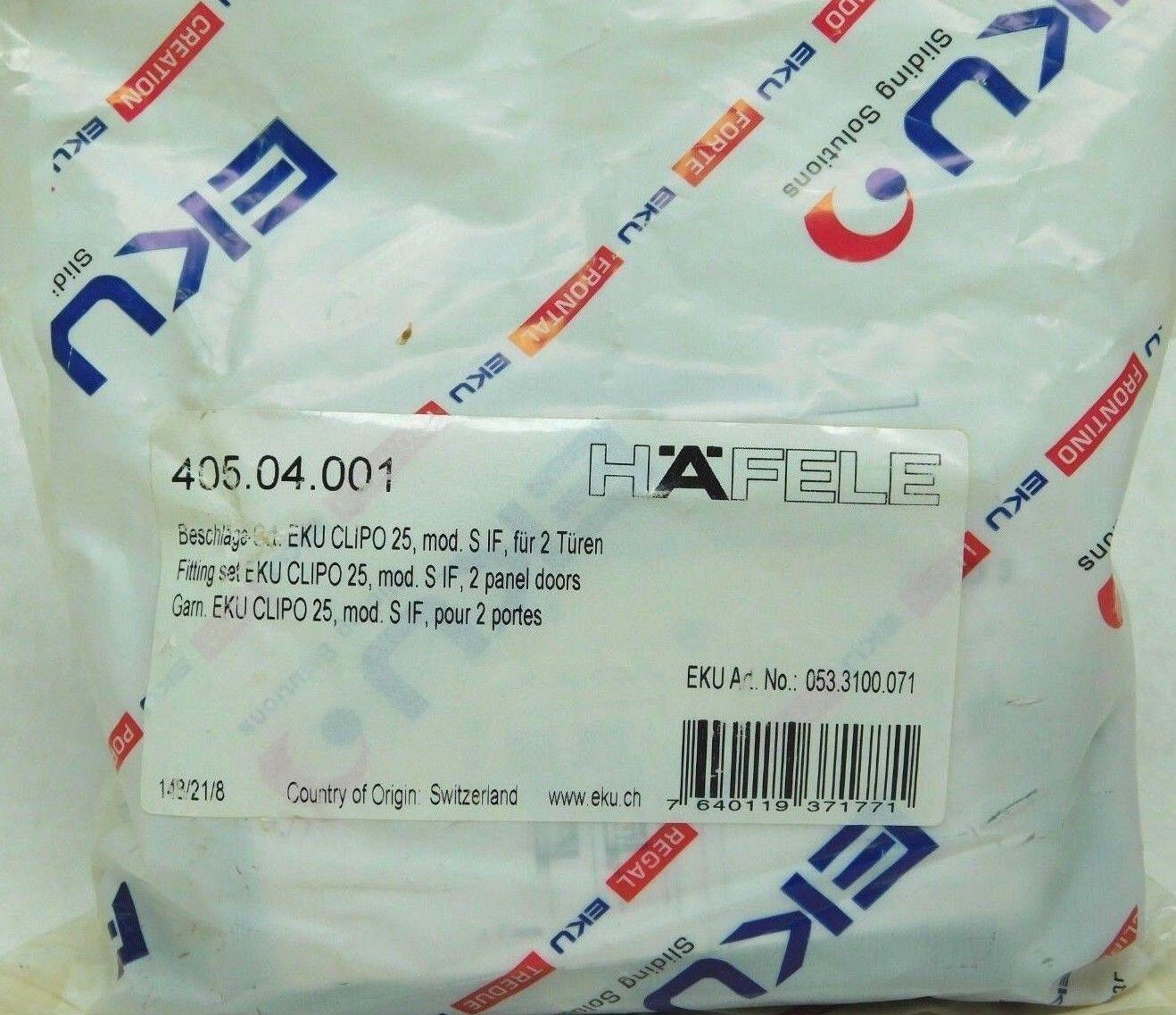 NEW  Hafele 405.04.001 Inslide Set for 2 Wood Panel Doors SEE PHOTOS  HF