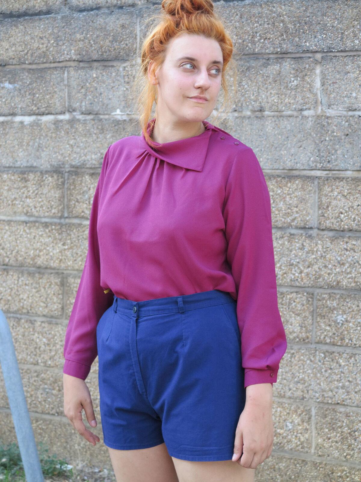 Camicia Donna Blusa Top VIOLA 70er 70er 70er True Vintage 70s viola blouse top shirt 7ad522
