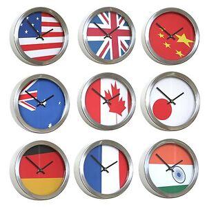 roco verre abstract flag time zone wall clocks 26cm ebay