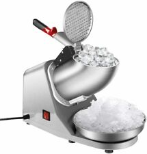 Electric Ice Shaver Snow Cone Maker Machine Silver For Home And Commercial Use