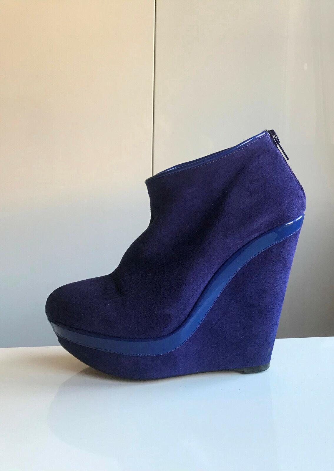 Keil Stiefelette Ankle Stiefel 37 Mai Piu Senza blau royalblau azur Wildleder Lack