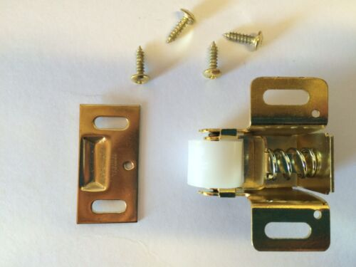 LOT of 4 BRASS Spring Loaded Nylon Roller Catch Cabinet Door Latch Home RV Boat