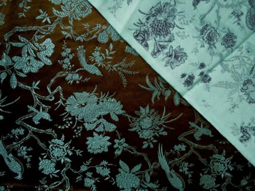 Faux Silk Brocade Jacquard Damask Kimono Fabric Material BL24 Black Background