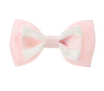New girls GYMBOREE Snowflake Fun Pink Fair Isle Ribbon BOW Hair Clip