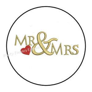 "48 MR AND MRS WEDDING ENVELOPE SEALS LABELS STICKERS 1.2/"" ROUND"
