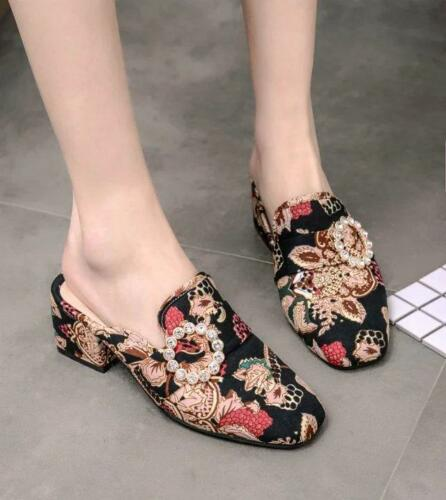 Womens Suede Printed Floral Mid Block Heel Square toe Mules Pumps Slippers Shoes