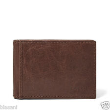 Fossil Original ML3438200 Brown Ingram Money Clip Bifold Leather Men's Wallet