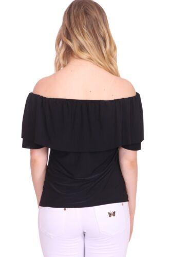Womens Ladies Short Sleeve Ruffle Frill Bardot Off The Shoulder Shirt Blouse Top