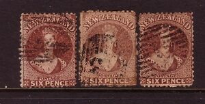 NEW-ZEALAND-1862-FFQs-x3-6d-brown-used-different-shades-cv-180