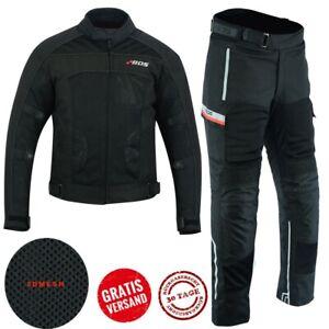 Herren-Motorrad-Jacke-und-Hose-Motorrad-Textil-kombi-Wasserdicht-Schwarz-S-5XL
