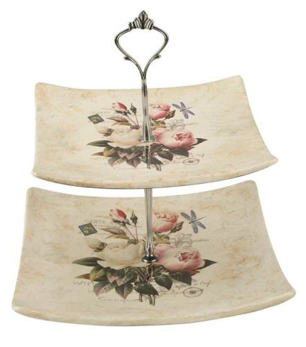 Vintage Modern  Etagere mit Blumen Musterung 2 Etagen.