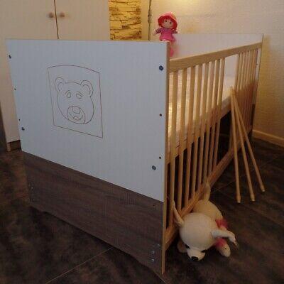 Babybett  Gitterbett Juniorbett 120 x 60 UMBAUBAR Matratze komplett Braun-CAFE