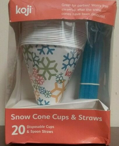 Koji Snow Cone Cups /& Straws 20 ct Disposable Snowflake Pattern