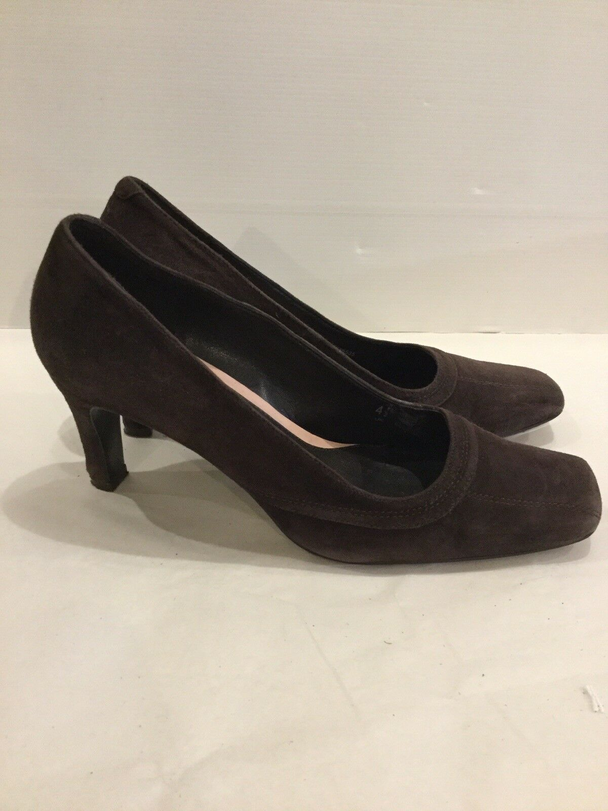 M&S Chocolate Brown Suede Court shoes. Size 4.5UK. Exc Condition