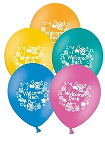 Welcome-Back-12-034-Printed-Assorted-Latex-Balloons-pack-of-5-by-PARTY-DECOR