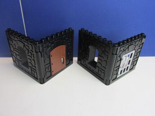 2 DUPLO lego CASTLE WALLS BLACK BUILDING door window lot STONE JAIL DOOR 48A