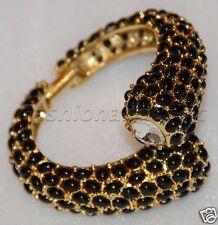 Kenneth Jay Lane Gold Black Cab Cry Ends Cuff Bracelet
