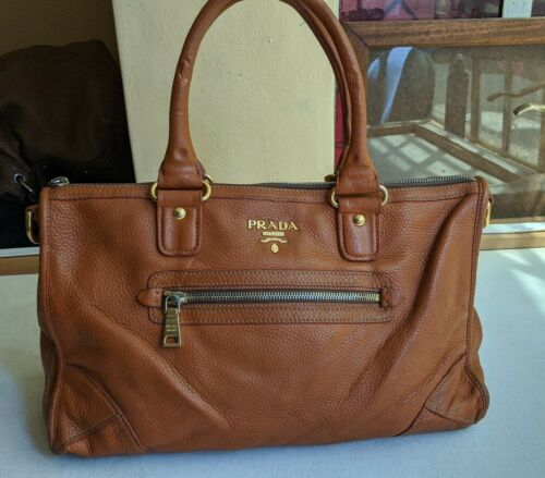 Auth Prada Orange Leather Cervo Pocket Tote Bag
