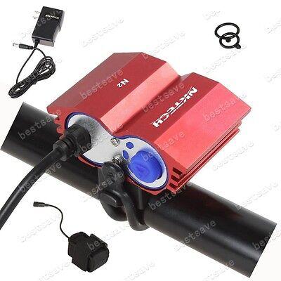 NKTECH N2 2x Bulb XML U2 LED Bike Bicycle HeadLamp Head Light +4x18650 T6 B0197