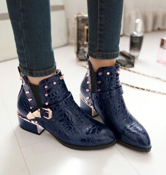 botas tacón de aguja zapatos de tacón mujer 4 cm azul cómodo como piel 8720