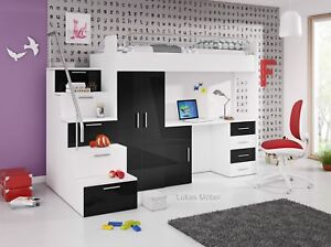 Etagenbett Mit Schrank Und Schreibtisch : Etagenbett hochbett alice hochglanz weiss schwarz bett schrank