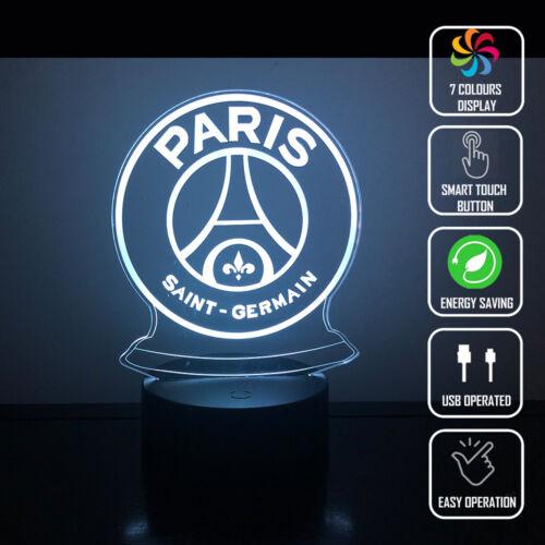 PSG PARIS SAINT GERMAIN 3D Acrylic LED 7 Colour Night Light Touch Table Lamp