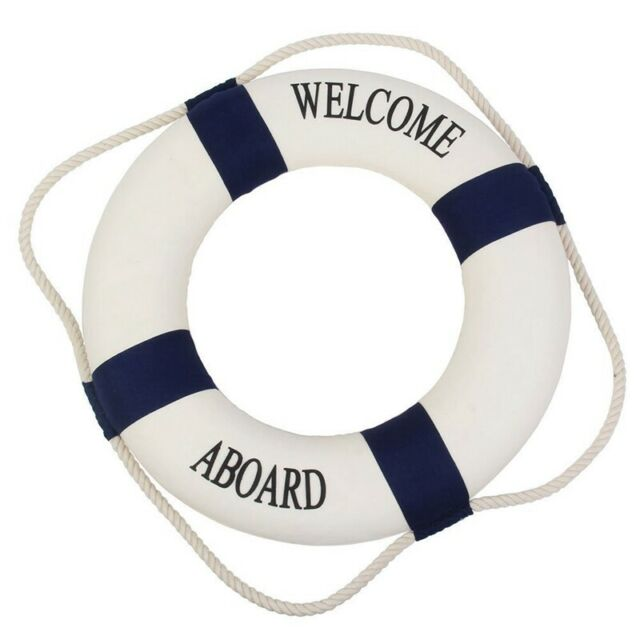 Decorative Welcome Aboard Nautical Lifebuoy Wall Hanging Home Decoration (B H8J7