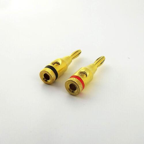 4pcs 4mm Banana Plug Jack Solderless Speaker Connectors Binding Post Gold Plated