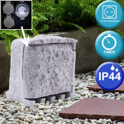 Außen Verteiler 2-Fach Garten Steckdosen IP44 Steinoptik Timer BxH Big Light