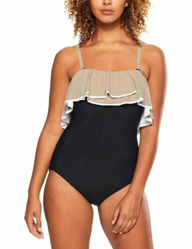 Coco Reef BLACK Paradiso Agate Ruffle Bandeau One-Piece Swimsuit US 38D
