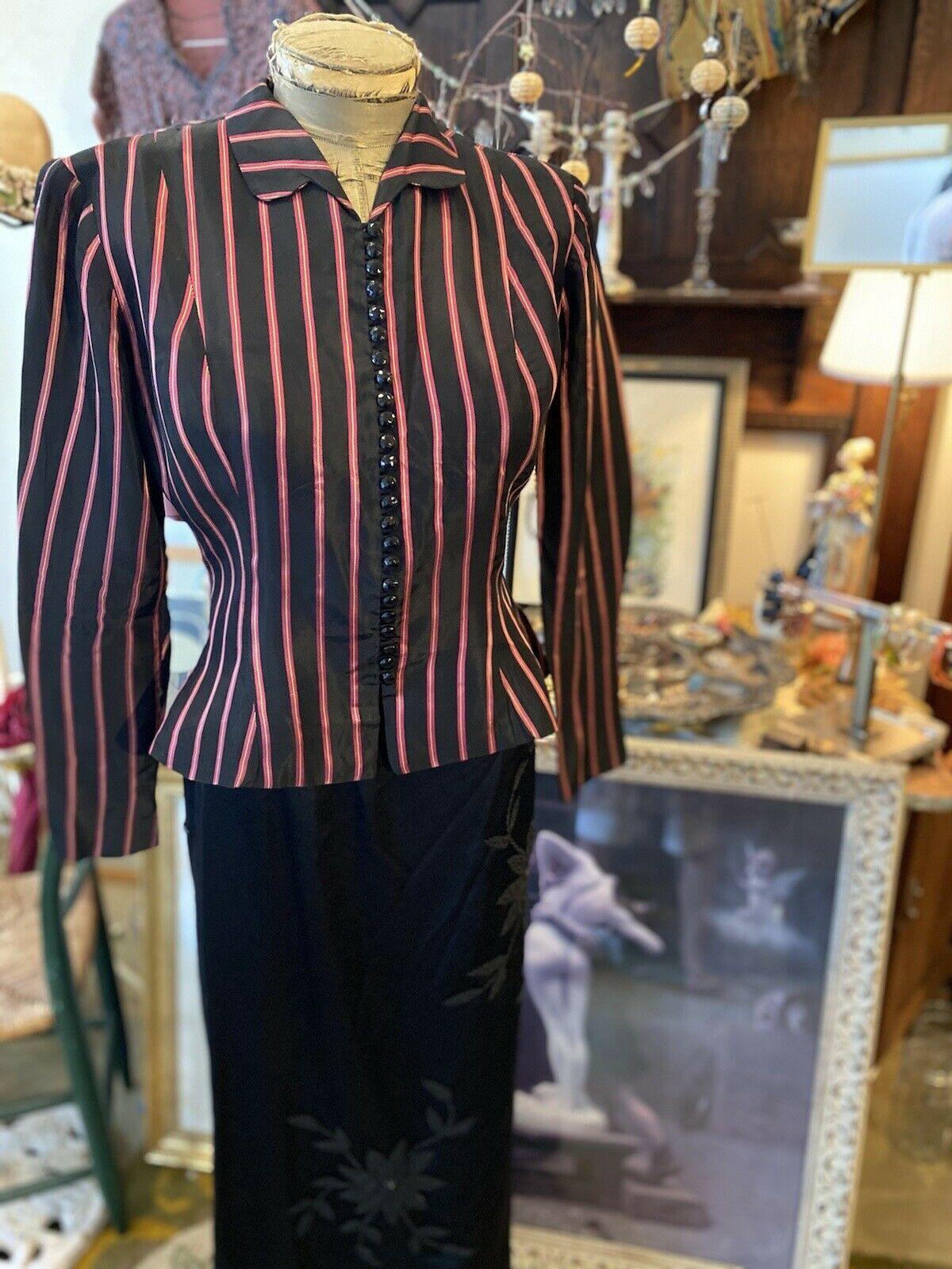 Vintage Rare Ceil Chapman  satin  stripe Fitted A… - image 1