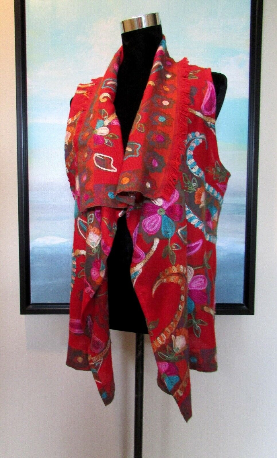 ANU Red Wool Crewel Embroidered Floral Vest Sz S