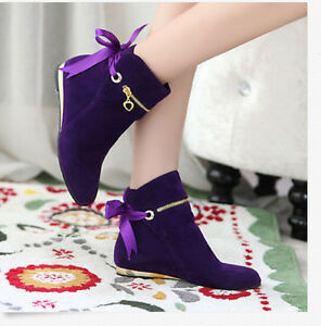 Womens Girls Lace Up Winter Flat Ankle Boots Casual Kight Shoes ...