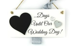 Details About Handmade Wedding Day Countdown Chalkboard Plaque Engagement Gift Silver Hearts