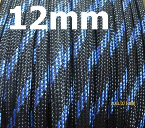 12mm BLACK BLUE Expandable Braided DENSE PET Cable Sleeving Audio Sleeve DIY