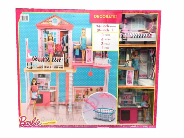 Barbie House With Glam Swimming Pool Includes 3 Barbie Dolls Kids