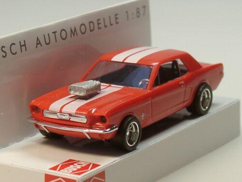 Busch Ford Mustang Coupe 1964 47575-1:87 Breitreifen rot-weiss