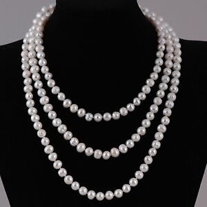 High-Lustre-Real-Freshwater-Pearl-Necklace-60-039-039-Long-length