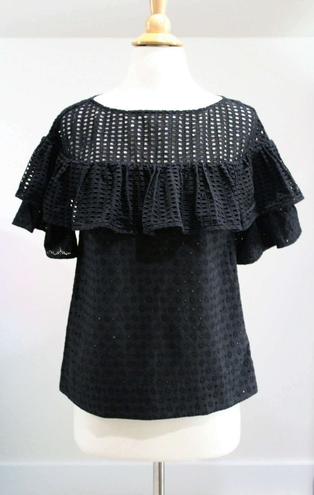 NWT J CREW COLLECTION  schwarz Cotton Eyelet Flounce Top Sz 0 A7877 Ruffle