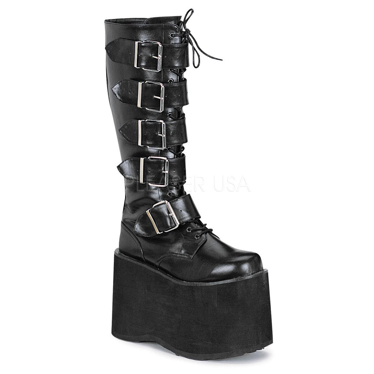 DEMONIA Men's Gothic Punk Cyber High Platform Military Buckle Up Knee Boots
