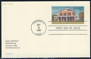 20C 1989 Tarjeta Postal de EE. UU. primer día cubre Scott UX134 UX135 Chicago Filadelfia