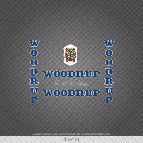 01344 Woodrup Bicycle Stickers Decals Transfer Blue