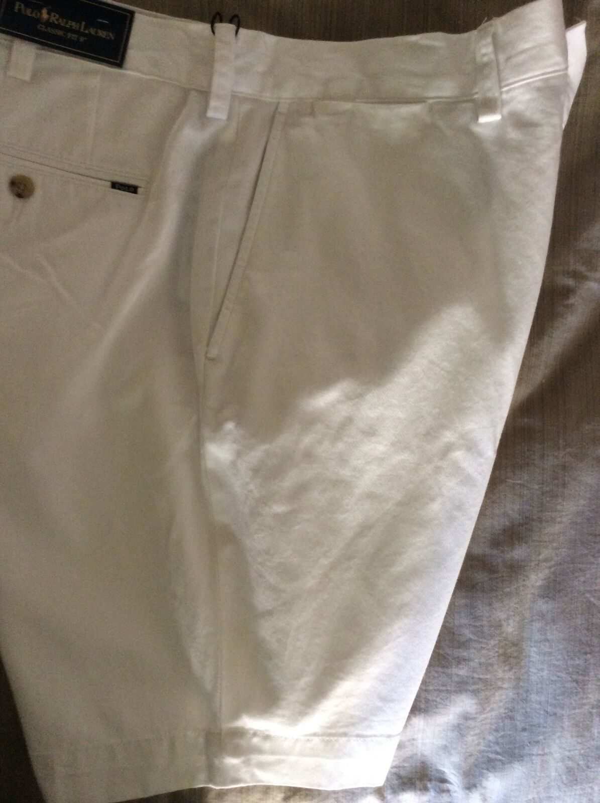 NEW RALPH LAUREN POLO  SHORTS COTTON WHITE CLASSIC FIT 9   FLAT FRONT 40
