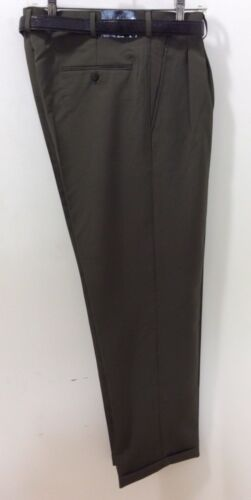 MEN/'S OLIVE PLEATED DRESS PANTS SLACKS TROUSERS BELT CUFFED BIG SIZES 32-62 NEW