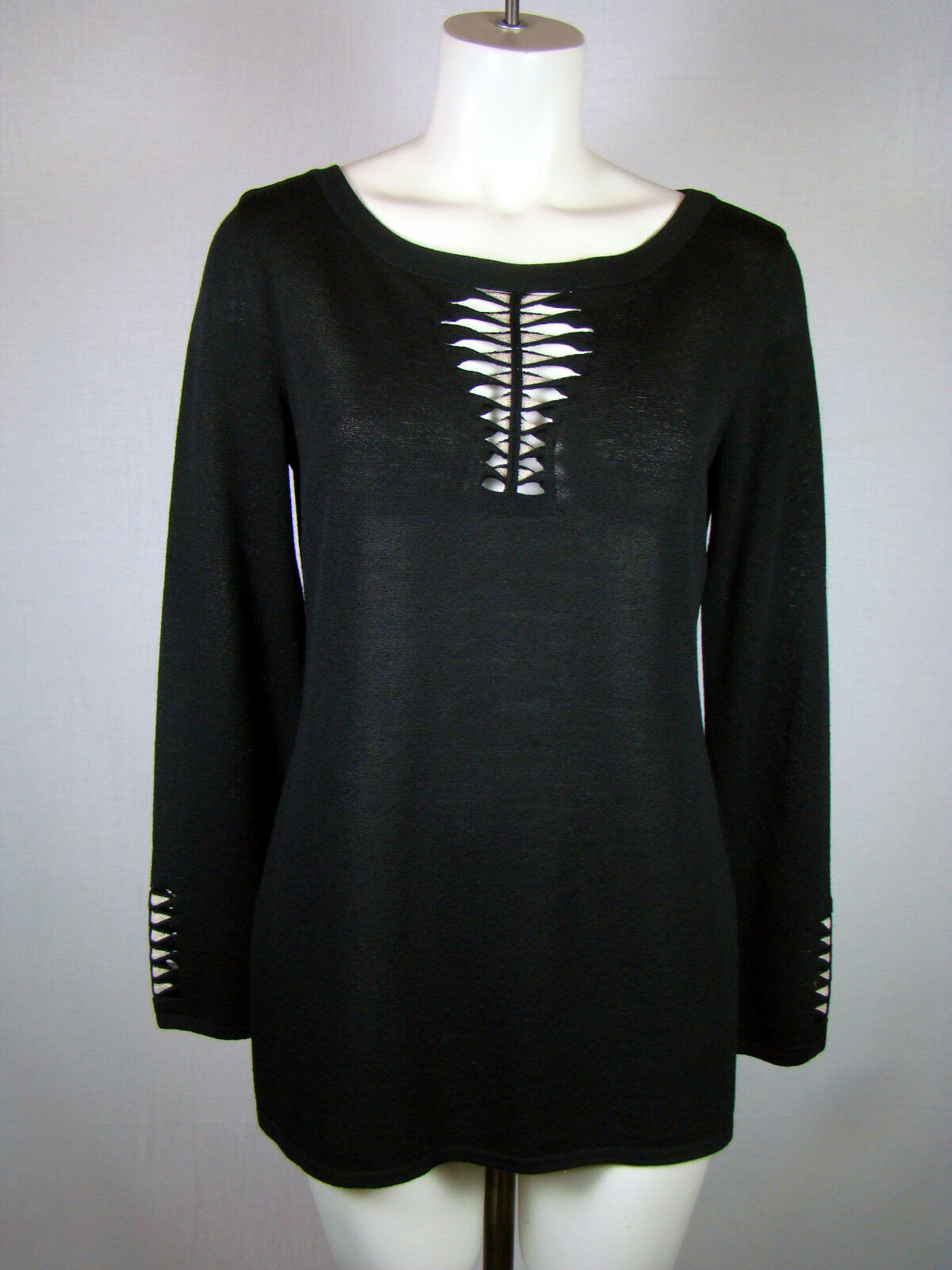 Escada schwarz Wool Blend Cutout schwarz Knit Blouse Top Shirt Größe